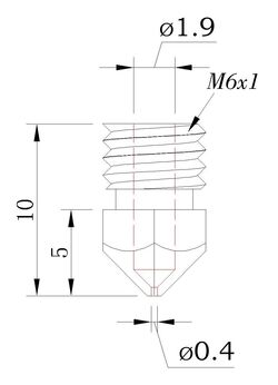 Overall length of 10mm. Threads are M6x1.0 with a 5mm length. Nozzle opening diameter is 0.4mm